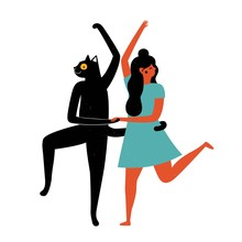 Happy Dancing Woman With Black...