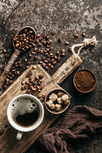 Coffee On Wooden Board With Co...