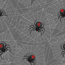 Seamless Pattern With Black Widow Spiders.