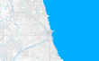 Rich detailed vector map of Chicago, Illinois, U.S.A.