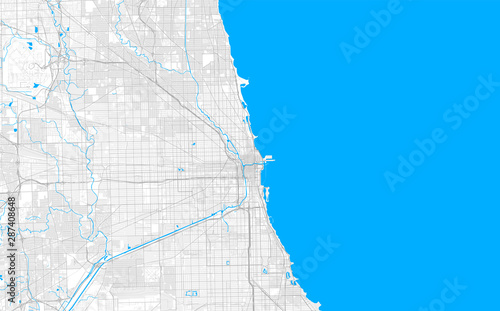 Rich detailed vector map of Chicago, Illinois, U.S.A. Wallpaper Mural