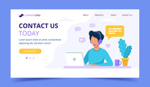 Contact Us Landing Page. Man With Headphones And Microphone With Computer. Concept Illustration For Support, Assistance, Call Center. Vector Illustration In Flat Style
