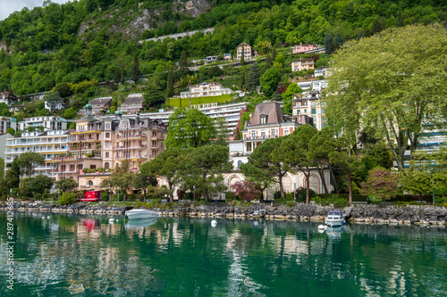 Foto Montreux cityscape, view from ship in Geneva lake