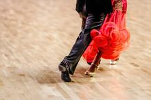 Legs Man And Woman Dancers On Parquet Floor Ballroom Dancing