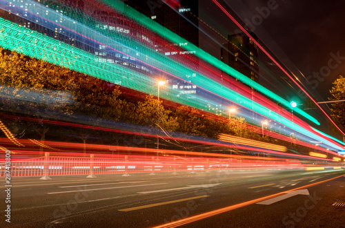 Fototapety, obrazy: abstract image of blur motion of cars on the city road at night