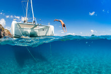 Diving From A Catamaran, Cava ...