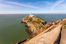 The South Stack Lighthouse Is Built On The Summit Of A Small Island Off The North-west Coast Of Holy Island, Anglesey, Wales. It Was Built In 1809 To Warn Ships Of The Dangerous Rocks Below.