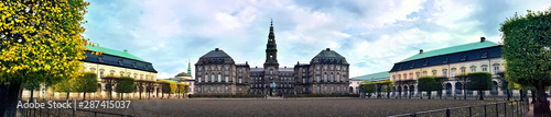 Fototapeta  Panoramic view of Christiansborg Palace and the Danish royal stables, Copenhagen