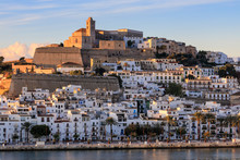 Waterfront And Fortified Historic Old Town, Dalt Vila, Cathedral, At Sunrise, Ibiza Town, Eivissa, Balearic Islands, Spain, Mediterranean