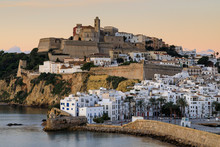 Ramparts, Walls, Cathedral, Dalt Vila, At Sunrise, Ibiza Town, Eivissa, Balearic Islands, Spain, Mediterranean
