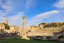 Theatre Antique, Evening Light, Arles Roman Ruins, Arles, Bouches Du Rhone, Provence, France