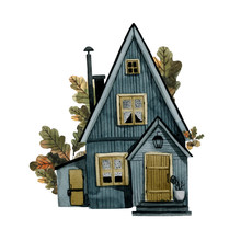 Rustic Wooden Blue House With ...