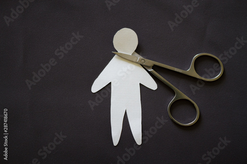 Cutting head of paper person Tablou Canvas