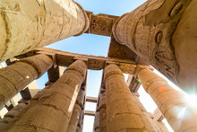 Pillars Decorated With Hieroglyphics In The Great Hypostyle Hall At Karnak Temple, Thebes, Egypt