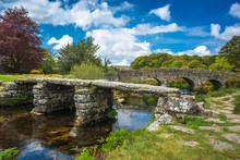 Medieval Clapper Bridge Over The East Dart River At Postbridge On Dartmoor In Devon