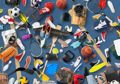 Fototapeta Sports equipment and clothing are scattered in the gym obraz