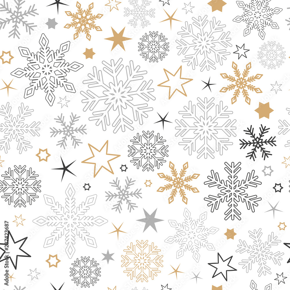 Fototapeta seamless pattern snowflake background in gold and silver colors vector illustration EPS10