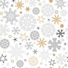 Seamless Pattern Snowflake Bac...