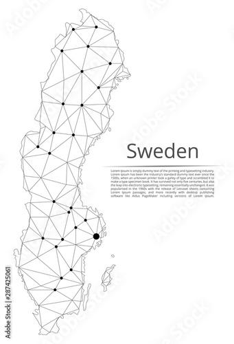 Cuadros en Lienzo Sweden communication network map