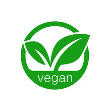 Green Leaf Icon Vegan Product Label