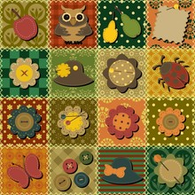 Patchwork Background With Diff...