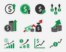 Dollar Rate Increase, Currency Growth Icon Set