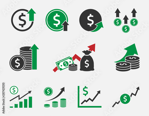 Stampa su Tela dollar rate increase, currency growth icon set