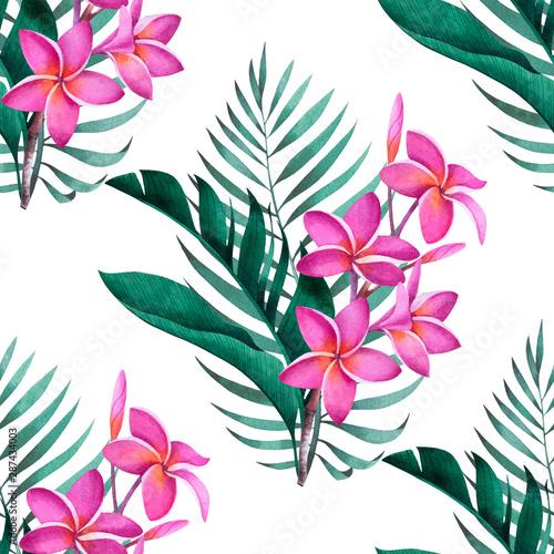 tropikalny-wzor-z-kwiatow-plumeria-bananow-i-lisci-palmowych-na-bialym-tle