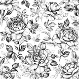 Seamless Pattern with Hand Drawn Rose  Flowers - 287437840