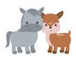 Donkey and deer cartoon vector design
