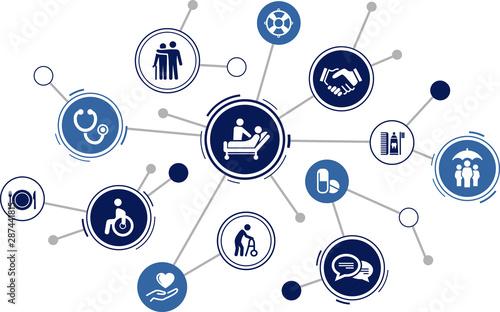 Obraz na plátně care icon concept: nursing care, domestic help, assistance for disabled persons