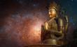 Leinwanddruck Bild - Starry sky over the statue of Chenrezig Bodhisattvas.