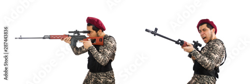 Photo Soldier with a weapon isolated on white
