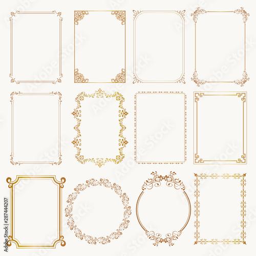 Leinwand Poster  Calligraphic frame set. Borders corners ornate frames. Vector