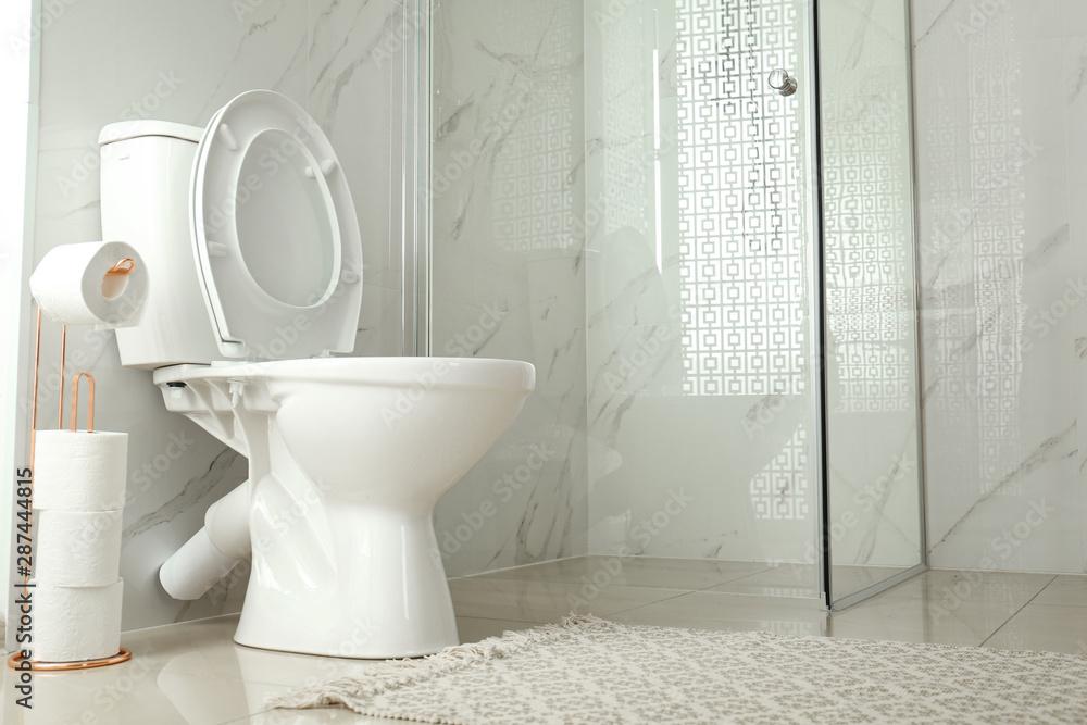 Fototapety, obrazy: Toilet bowl near shower stall in modern bathroom interior