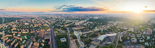Foto op Aluminium Groen blauw Aerial view of Moscow over the VDNKh