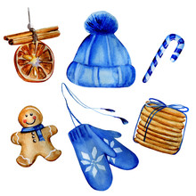 Watercolor Hand Painted Christmas Set Including Christmas Tree Decoration, Knitted Blue Hat And Mittens, Christmas Candy, Gingerbread Man And Ginger Cookies. Isolated Elements On White Background.
