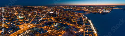 Foto auf AluDibond Schokobraun Aerial panoramic view of Nizhny Novgorod, Russia, illuminated at night. The Spit (confluence of Oka and Volga Rivers) and the Nizhny Novgorod Kremlin.
