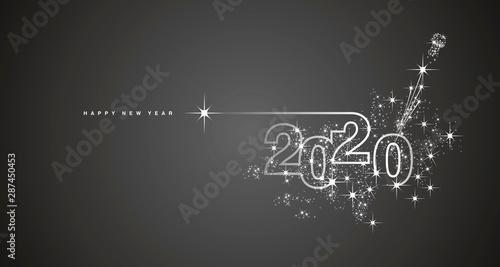 Fototapeta  New Year 2020 line design firework champagne white black vector