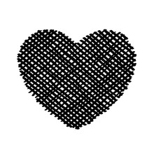 Scribble Diagonal Hatching Criss Cross Black Heart, Symbol Love For Valentines Day. Backdrop Hand Drawn Image. Sketch Shaded Badges Shape. Monochrome Vector Design Element. Isolated Illustration.