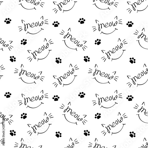 Seamless pattern with meow lettering with cat whiskers, ears and smile Canvas Print