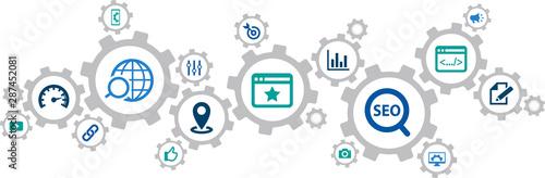 Fototapety, obrazy: SEO icon concept: search engine optimization / analytics / online marketing – vector illustration