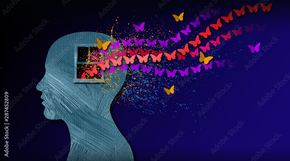 Fototapeta Graphic abstract of dreamlike butterflies flowing from iconic open window in mind