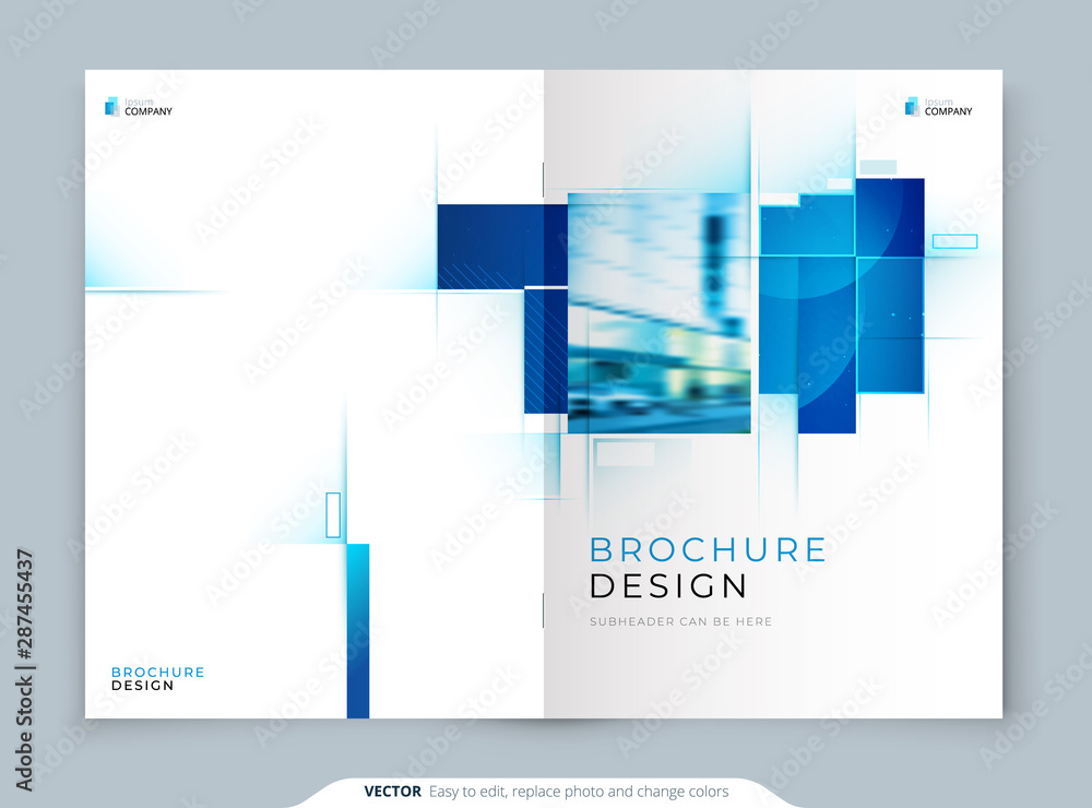 Fototapeta Blue Cover Template Layout Design. Corporate Business Horizontal Brochure, Annual Report, Catalog, Magazine, Flyer Cover Mockup. Creative Modern Bright Cover Concept with Square Shapes