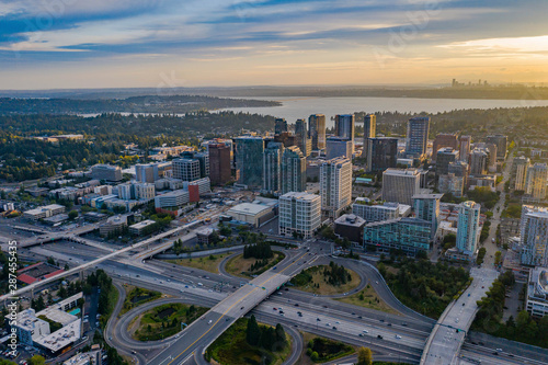 Drone shot of the city of Bellevue from above Wallpaper Mural