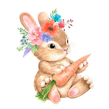 Cute Bunny With A Flower On Hi...
