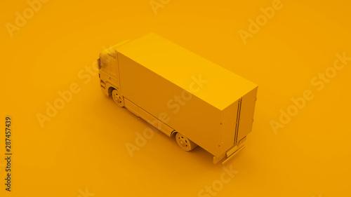 Fotografía  Yellow Truck. Minimal idea concept. 3d illustration