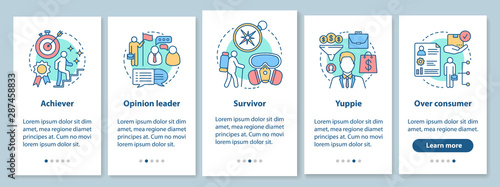 Lifestyle types used in marketing onboarding mobile app page screen with linear concepts Wallpaper Mural