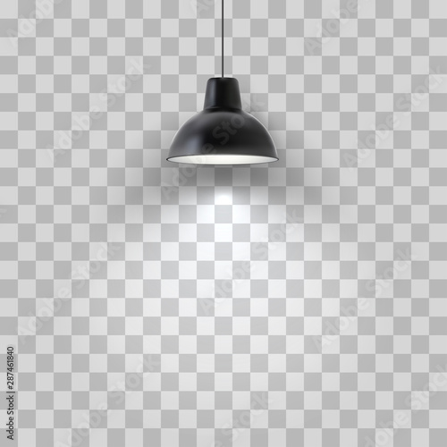 Cuadros en Lienzo Vector realistic black ceiling lamp isolated on transparent background