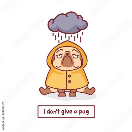 cartoon pug dog in yellow raincoat under the cloud character vector illustration Wallpaper Mural
